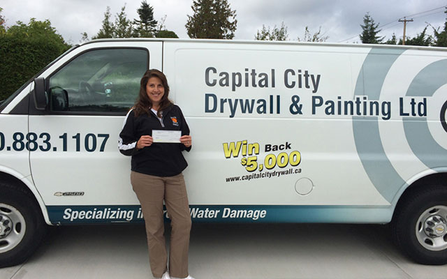 2014 Winner of the $5,000 win it back contest won back the full amount of her drywall and painting renovation.